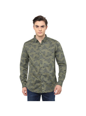 Printed Regular Shirt,  olive, s