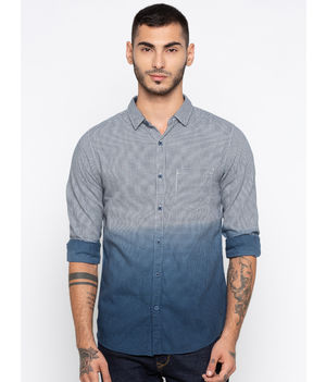 Spykar Faded Slim Fit Shirts, m,  white/navy