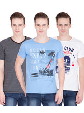 American-Elm Men's Pack Of 3 Round Neck T-Shirts- Blue, Dgrey, White, m