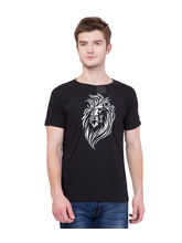American-Elm Men's Black Round Neck Lion Printed T-Shirt, s