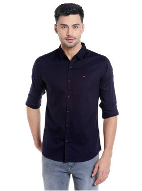 Solid Shirt In Slim Fit, l,  ink blue