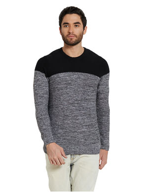 Striped Round Neck T-Shirt,  black/grey, xl