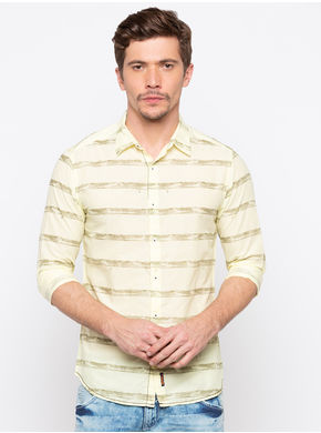 Spykar Regular Collar Stripes Slim Fit Shirts,  yellow, xl