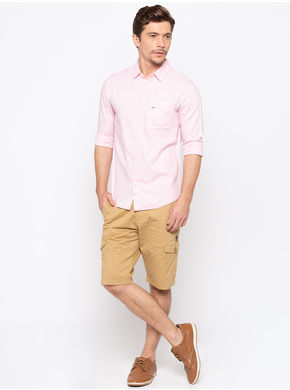 Spykar Regular Slim Fit Shirts,  pink, m