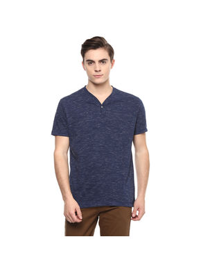 Printed Stand Collar T-Shirt,  navy, xl