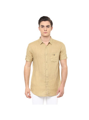 Solid Regular Shirt, s,  khaki