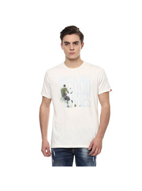 Graphic Round Neck Printed T-Shirt,  ivory, s
