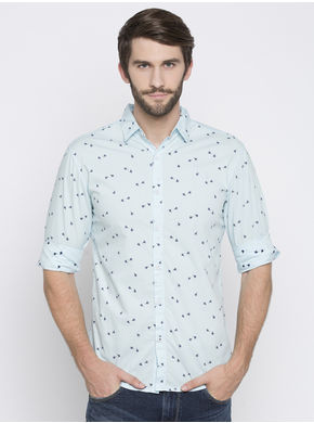 Spykar Prints Slim Fit Shirts, m,  sky blue