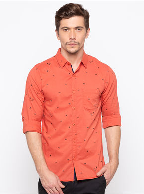 Spykar Regular Collar Prints Slim Fit Shirts,  orange, m