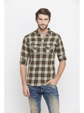 Spykar Checks Slim Fit Shirts, xl,  olive