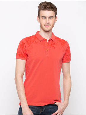 Spykar Orange Polo Slim Fit T-Shirts, l,  pastle orange