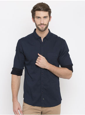 Spykar Printed Slim Fit Shirts, m,  navy