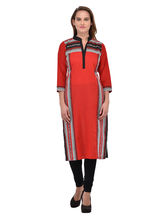 Navriti Red Printed Cotton Kurta, l
