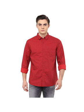 Printed Regular Shirt,  red, s