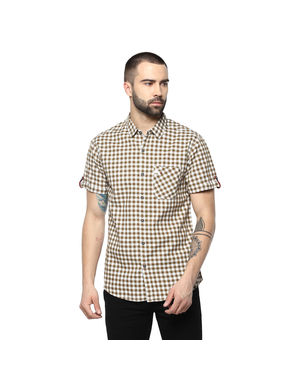 Checks Regular Shirt,  brown, m