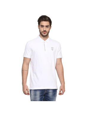 Solid Polo Slim Fit T-Shirt,  white, s