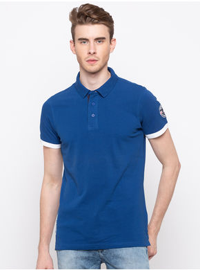 Spykar Polo Neck Slim Fit T-Shirts, m,  royal blue
