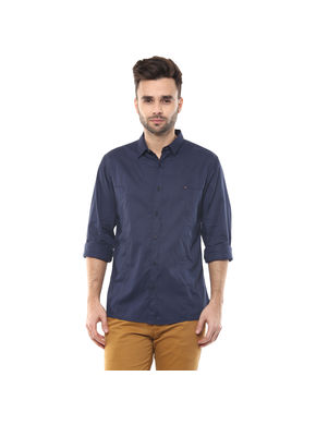 Solid Cutaway Slim Fit Shirt,  navy, m