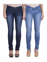 American-Elm Women's Stretchable Faded Jeans-Pack of 2 (AEWDJ4WFFJ3), 28, blue