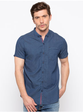 Spykar Slim Collar Solids Slim Fit Shirts,  indigo, xl