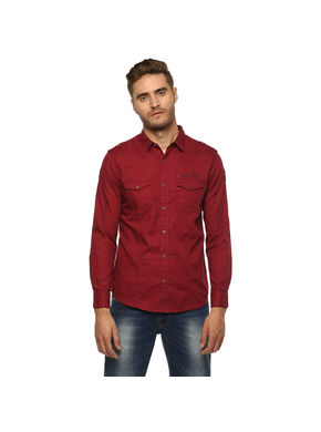 Spykar Solid Regular Shirt, 2xl,  wine