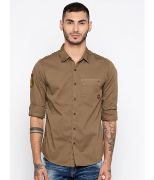 Spykar Solid Slim Fit Shirts, xl,  khaki