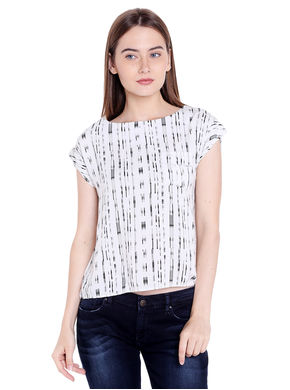 Printed Round Neck Top,  white, xl