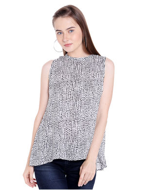 Printed Chinese Collar Top,  white, xl