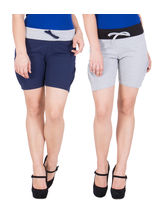American-Elm Women's Hot Shorts (Pack Of 2) Grey, Blue, m