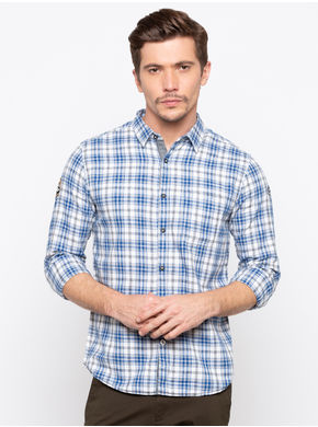 Spykar Regular Collar Checks Slim Fit Shirts,  blue, l
