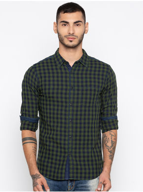 Spykar Checks Slim Fit Shirts, m,  bottle green