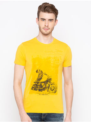Spykar Round Neck Slim Fit T-Shirts, m,  yellow