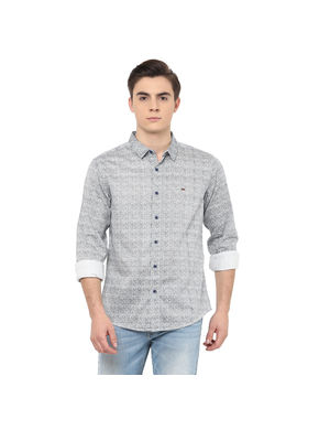 Printed Regular Shirt, s,  navy