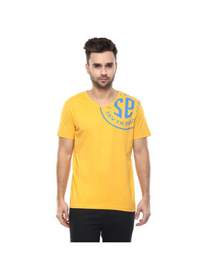 Printed V Neck T-Shirt, s,  yellow