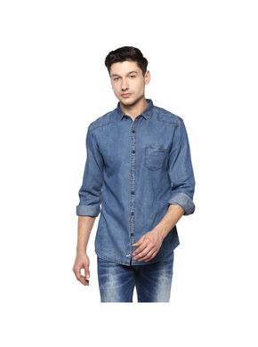 Denim Cut Away Shirt,  light blue, m