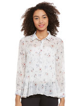 Femella Printed Shirt With Flared Waistline, l