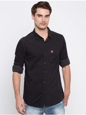 Spykar Solids Slim Fit Shirts, m,  navy