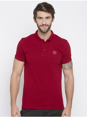 Solid Polo Collar Slim Fit T-Shirts,  red, xl