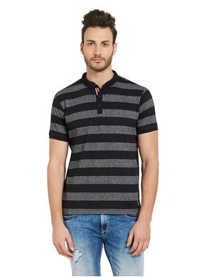 Striped Henely T-Shirt,  black, s