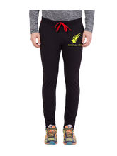 American-Elm Men's Black-Yellow Star Printed Trackpant For Light Workout, xl
