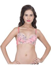 StayFit Flower Printed Lightly Padded Push Up Bra (A1234pink), 32b