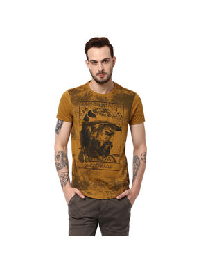 Solid Round Neck T-Shirt, xl,  camel