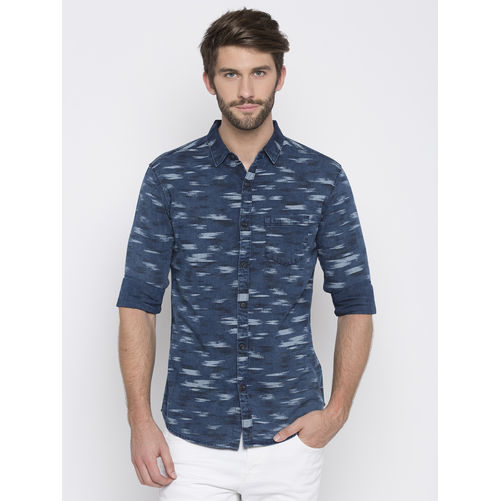 Spykar Printed Slim Fit Shirts