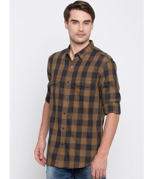 Spykar Checked Slim Fit Shirts, m,  khaki
