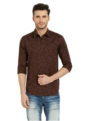 Printed Regular Slim Fit Shirt,  wine, s