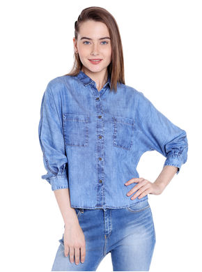 Denim Collar Top, xxl,  blue