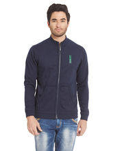 Solid Hooded Zipper, navy, xl