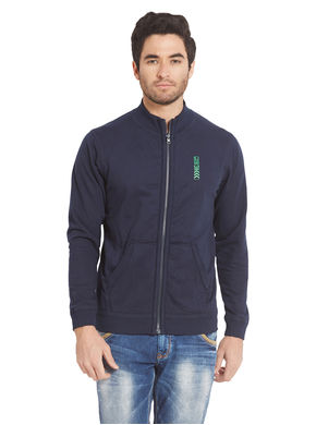 Solid Hooded Zipper, xl,  navy