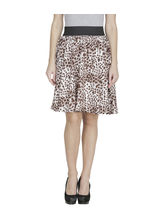 American-Elm Women'S Brown Regular Fit Printed Skirt, l