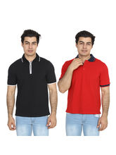 Brandtrendz Uva Black And Red Pack of 2 Polo T Shirts, l